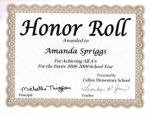Amanda's 5th grade honor roll award | by Dave Spriggs