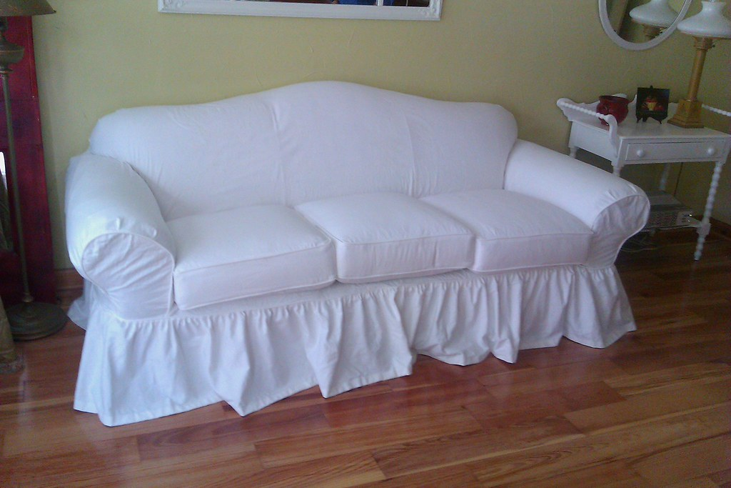 shabby chic slipcover a classic curvy sofa is given the sh flickr rh flickr com shabby chic armchair slipcover shabby chic sofa slipcover patterns