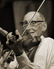 Old-timer senior citizen fiddler looking at camera | by Bob R.L. Evans