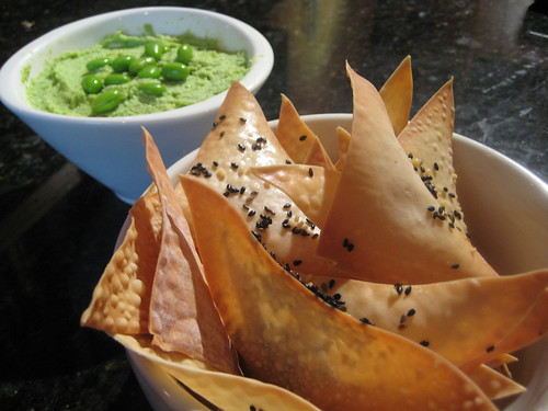 Edamame hummus and wonton chips | by Alexandra Moss