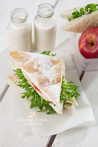 Lunch box with sandwich apple and milk | by Lisovskaya Natalia