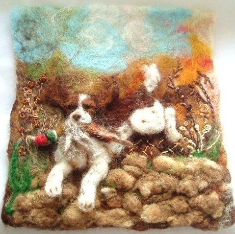 needle felted portrait of a working springer spaniel | by adore62