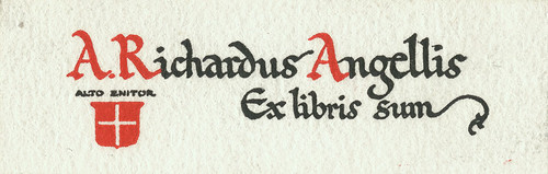 [Bookplate of A. Richardus Angellis] | by Pratt Institute Library