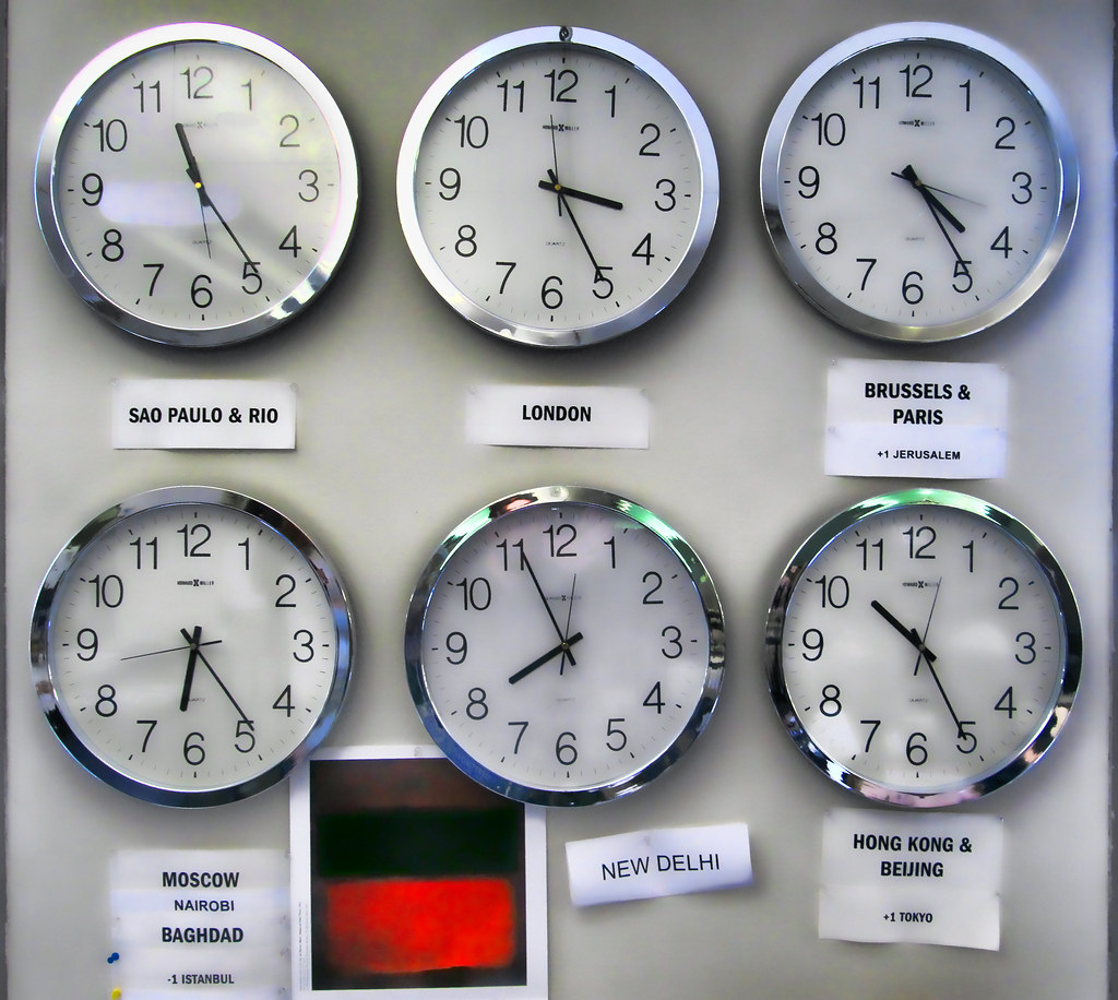 World clocks i work on the international desk at the wall flickr world clocks by idle type amipublicfo Choice Image
