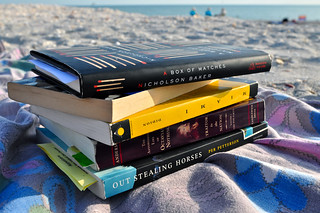 Our beach reading, partly | by santheo