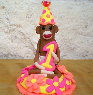 Sock Monkey Birthday Cake Topper | by SpiritMama