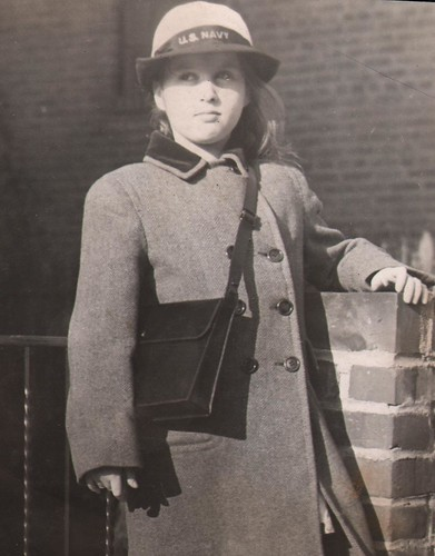 Irma Ruby wearing WAVE hat and holding Navy Purse (10 years old) | by JWA Commons