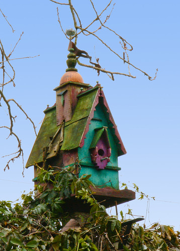 Birdhouse, with disco ball | by Janetterie