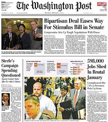 Feb 7 WaPo Front Page: Stimulus Bill Compromise Story | by MyEyeSees