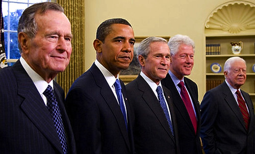 2009 Five Presidents George W. Bush, President Elect Barack Obama, Former Presidents George H W Bush, Bill Clinton, Jimmy Carter Portrait | by Beverly & Pack