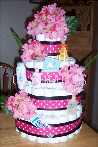 Pink Polka Dot Black 4 Tier Diaper Cake For A 4 Tier