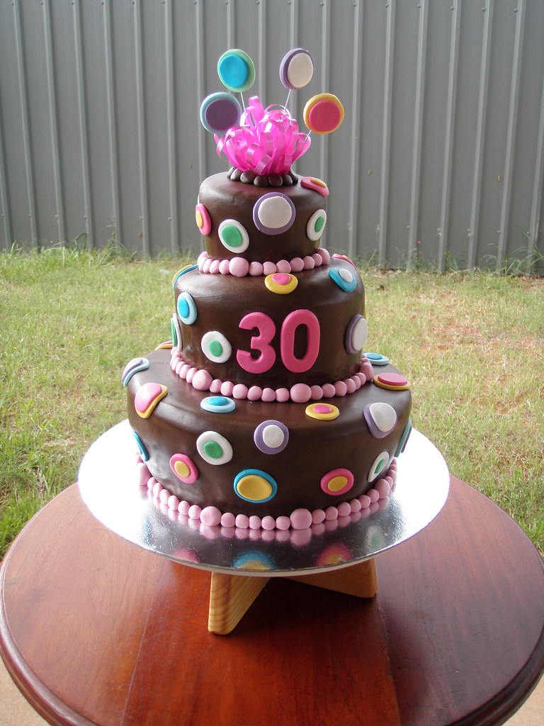 Mossys Masterpiece 30th Birthday 3 Tier Chocolate Wonky Cake With Multi Coloured Dots