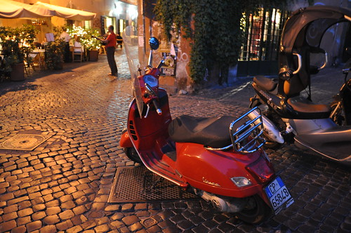 Red Vespa in Trastevere Rome | by Food Lovers Odyssey