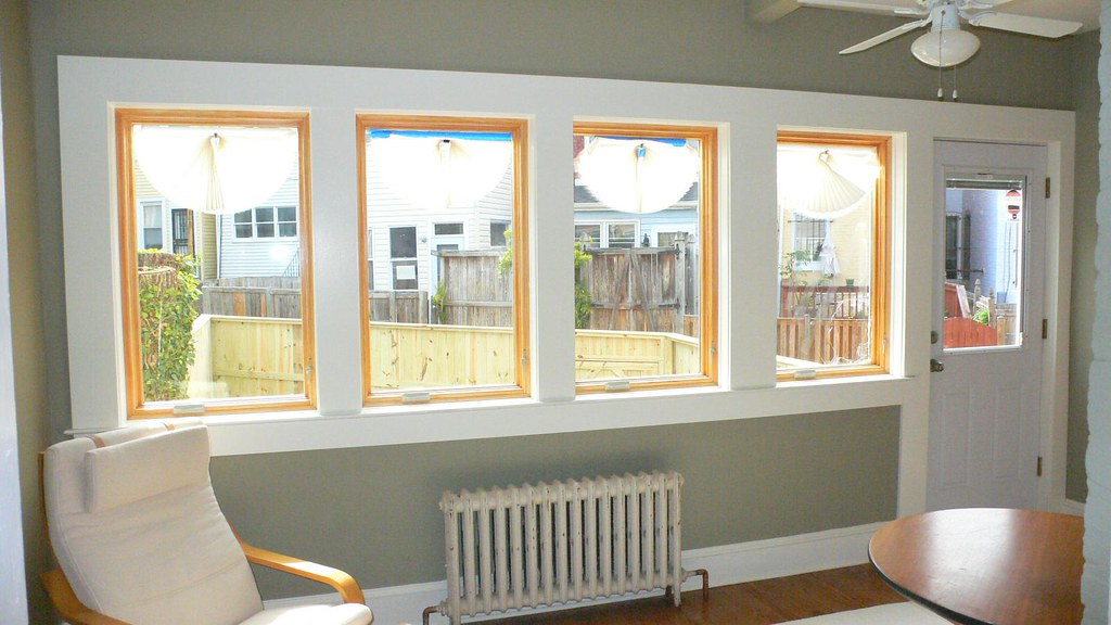 ... Bank Of Windows In Sunroom. Pella Casement. Notice Window On Right Was  Broken By
