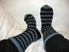20090428 - finished Seussian Slipper Socks