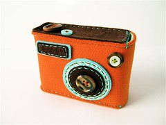 "Camera camera case ""Degicame"" (orange/dark brown) 