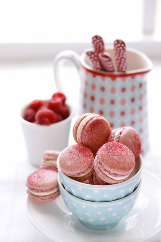 raspberry and pink peppercorn macarons | by cannelle-vanille
