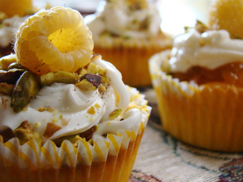 Saffron Cupcake with Golden Raspberry Peach Filling and Ra ...