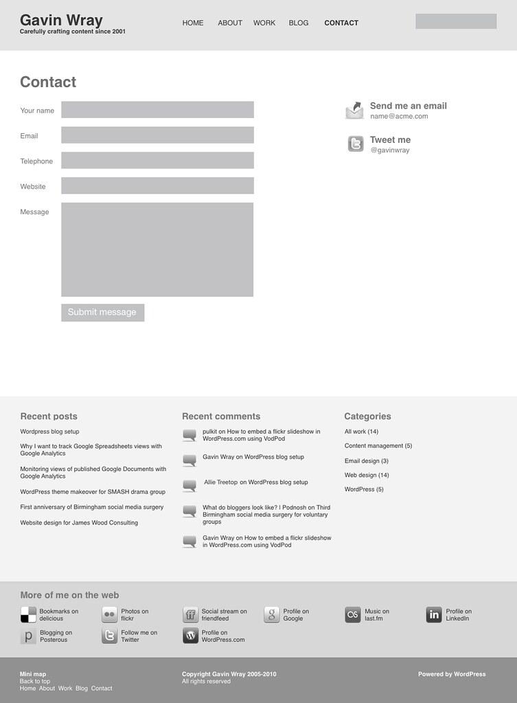 ... gavinwray.com v05 wireframes: contact page - by gavinwray