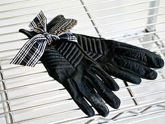 Feather & Tartan Ribbon Tied Around Tribu Leather Gloves | by Emilie Smith