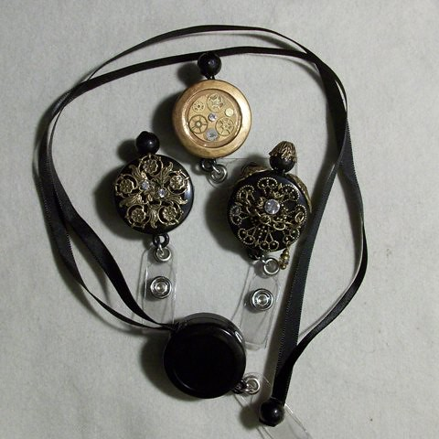 steampunk and vintage style retractable ribbon lanyards | by awdawno
