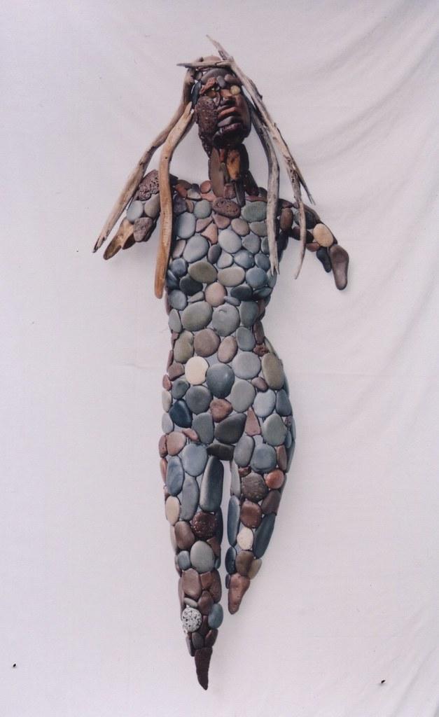 "Al Belleveau | Wave Wanderer Sticks and stones 48""x32""x12"