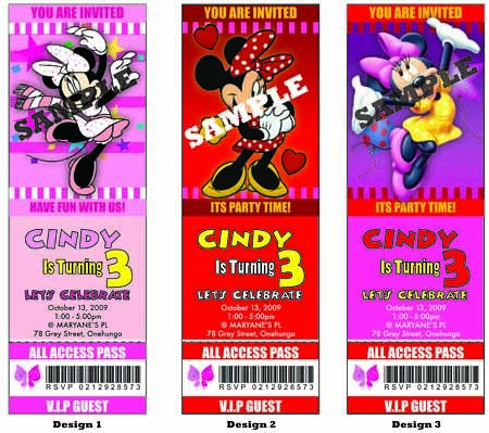 Minnie Mouse Birthday Party Ticket Invitations Minnie Mous Flickr