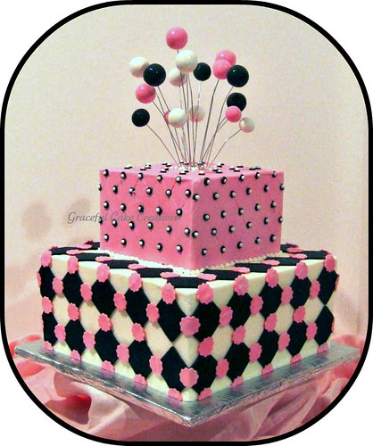Pink Black and White Square Bridal Shower Cake | by Graceful Cake Creations