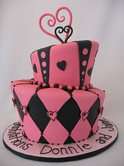 Pink & Black topsy turvy cake | by courtneyscakes