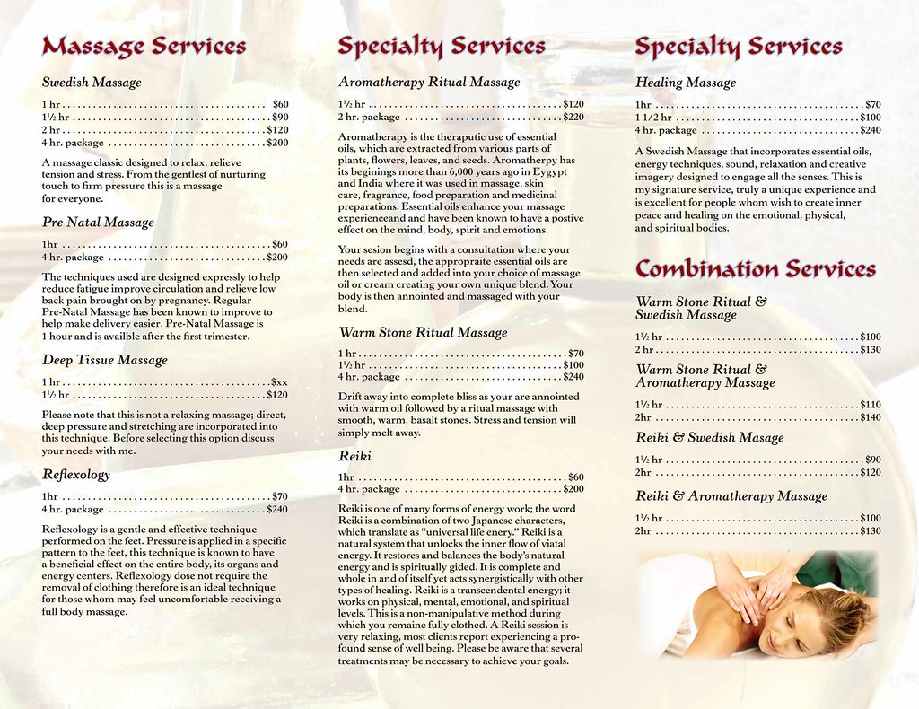 Massage Brochure Inside Massage brochure inside for Aah Ma – Massage Brochure