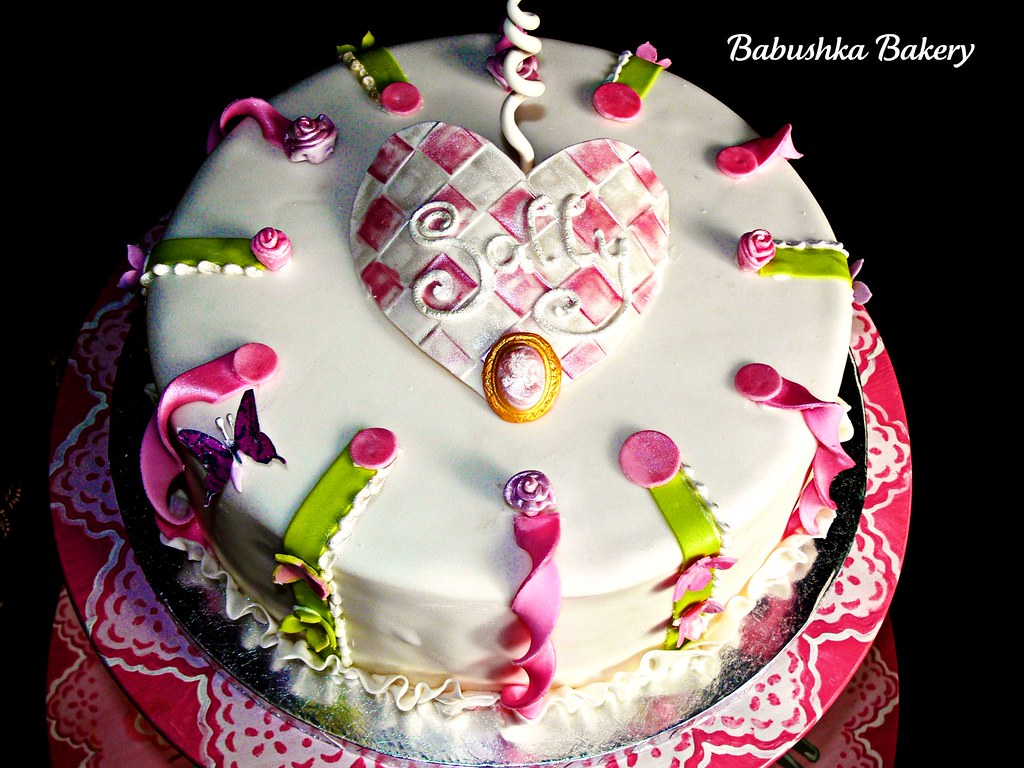 Single Tiered Feminine Birthday Cake Pink And Green Twist Flickr