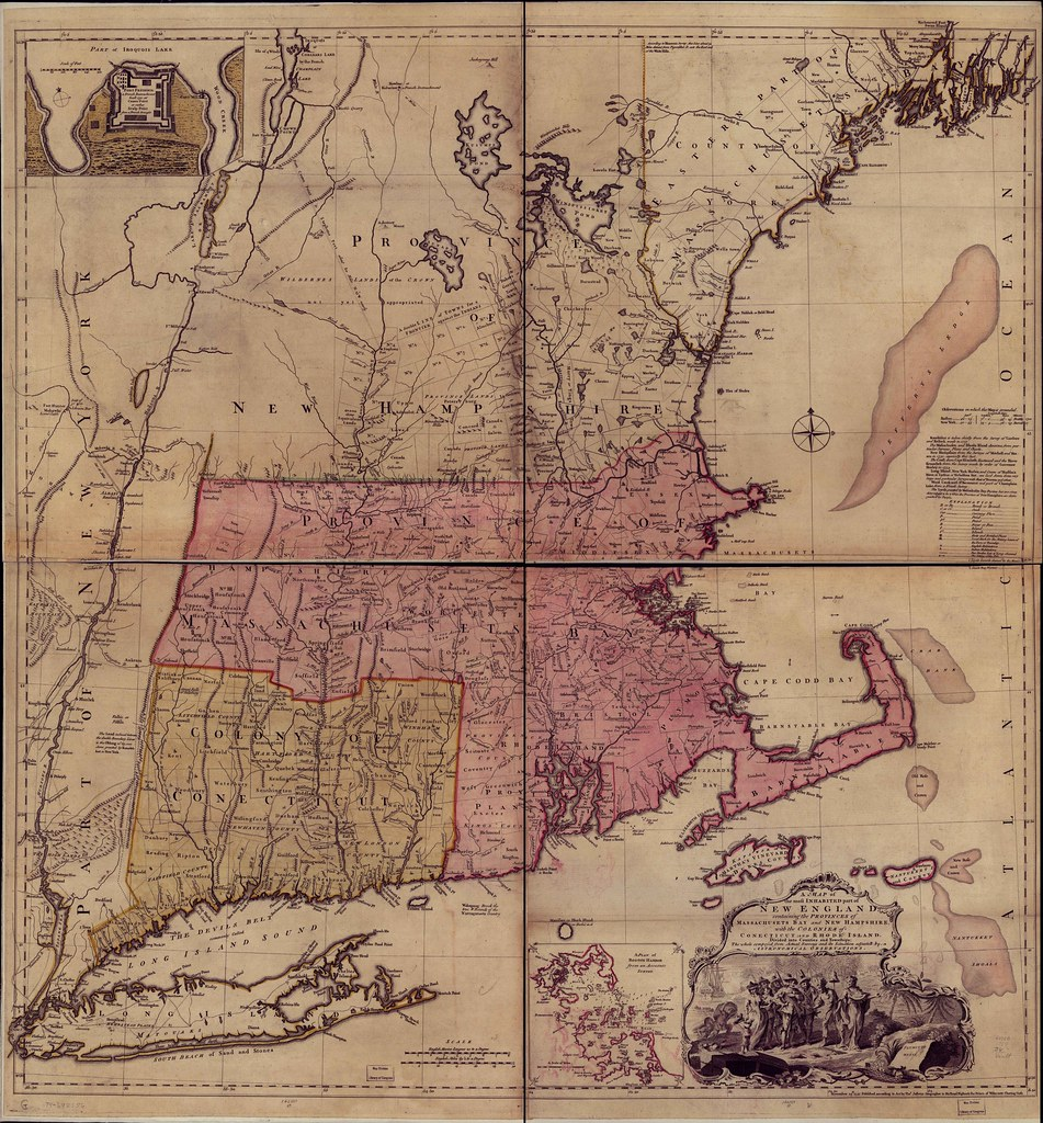 A Map Of The Most Inhabited Part Of New England Containin Flickr - Physical map of the united states bays