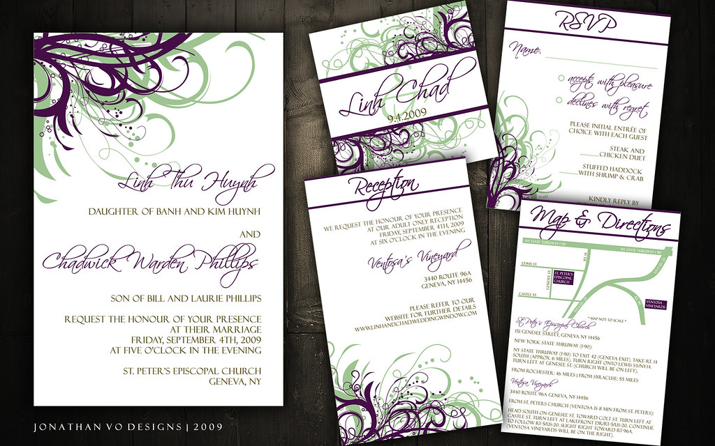 Wedding Invitations (Green + Purple) | Please contact me for… | Flickr
