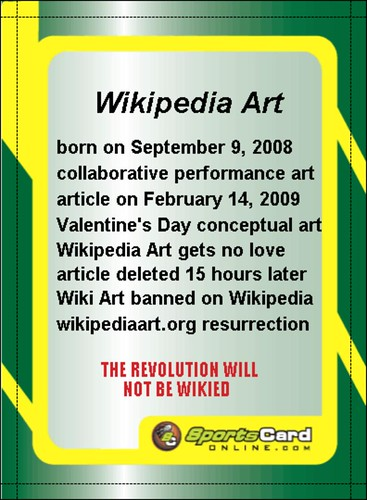 wikipedia art baseball card (back) (2009, digital file, dimensions variable) | by qi peng, conceptual artist