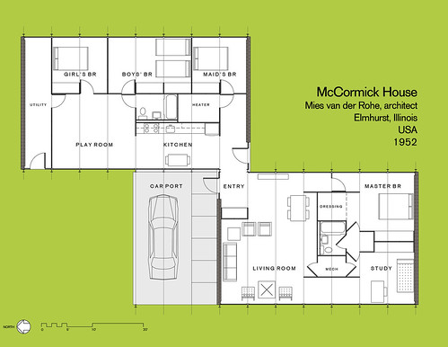 Mccormick House Floor Plan As Constructed In 1952 For