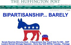 Feb 7 HuffPo Front Page: Stimulus Bill Compromise Story | by MyEyeSees