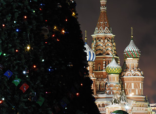 St. Basil's Cathedral and the GUM Department Store Christmas Tree in Red Square in Moscow | by marantzer