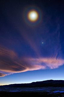 Full Moon Halo Over a First Quarter Moon | by Fort Photo