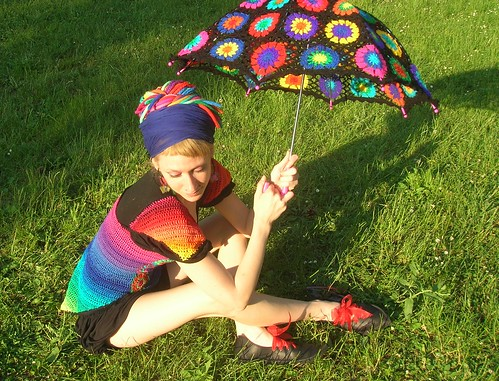 Crochet Umbrella - Granny Square Parasol And Embellished Rainbow Crochet Top | by babukatorium