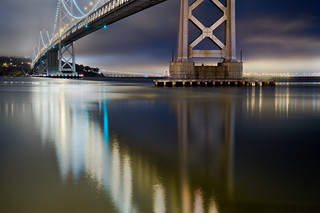 San Francisco Bay Bridge tower reflection | by exxonvaldez