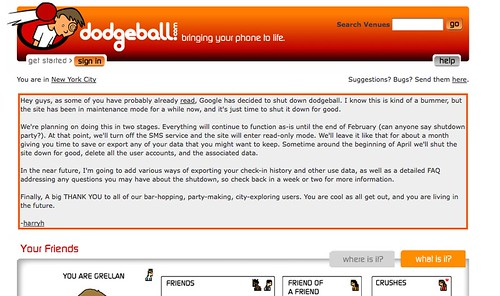 Harry's goodbye message posted up on the dodgeball.com homepage (sniffle).  :) | by dpstyles™
