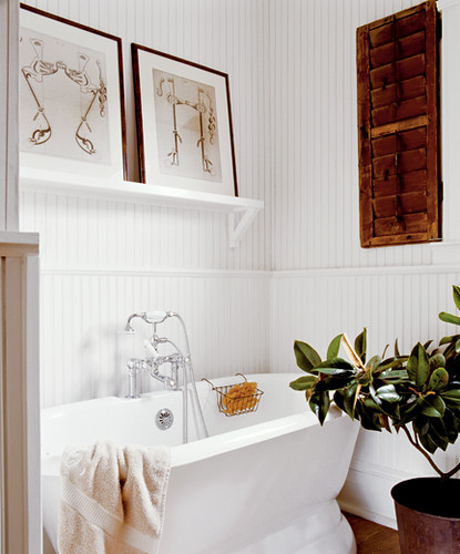 ... Classic White Bathroom + Striped Wallpaper + Wood Accents | By  SarahKaron