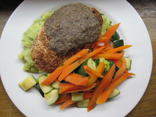 Butterbean & Brazil nut fillet with roast galric mash, mushroom gravy and vegetables | by veganbackpacker