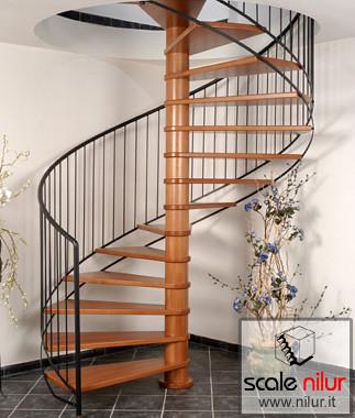 Scala a chiocciola in legno e metallo per interni mod ala - Scale in legno per interni ...