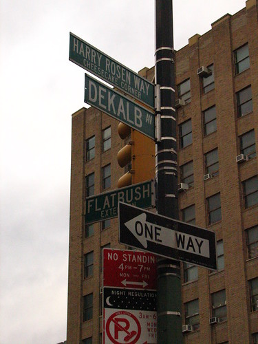 Italian Foods Near Me: Signs Outside Of Junior's Restaurant - Brooklyn, NY