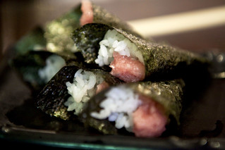Mini tuna with spring onion hand roll sushi | by thewanderingeater
