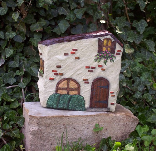 Hand painted rock french country house this is a for French country house blog