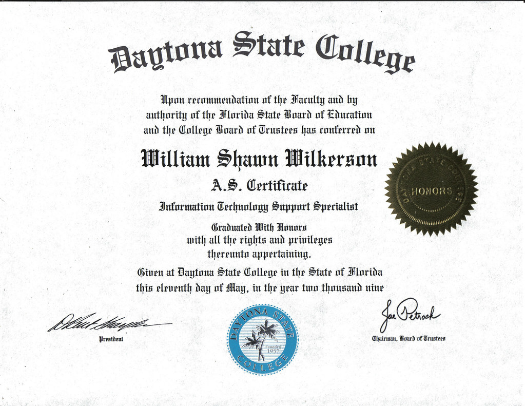 Certificate information technology support specialist flickr certificate information technology support specialist by w shawn wilkerson 1betcityfo Images