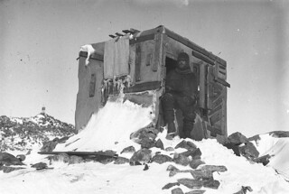 Bage in the entrance to the Astronomic Observatory, Antarctica, 1911-1914 / Frank Hurley | by State Library of New South Wales collection