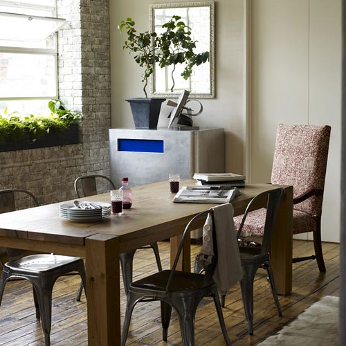 Eclectic Dining Room Tables: Rustic, Eclectic Dining Room: Hardwood + Brick + Metal + W